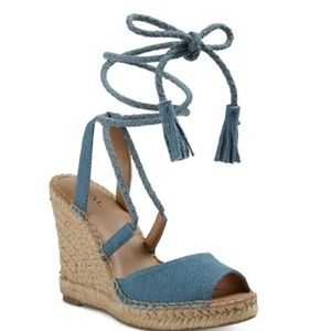 Shoes - NEW Maren Lace Up Wedge Espadrilles Sandals Denim
